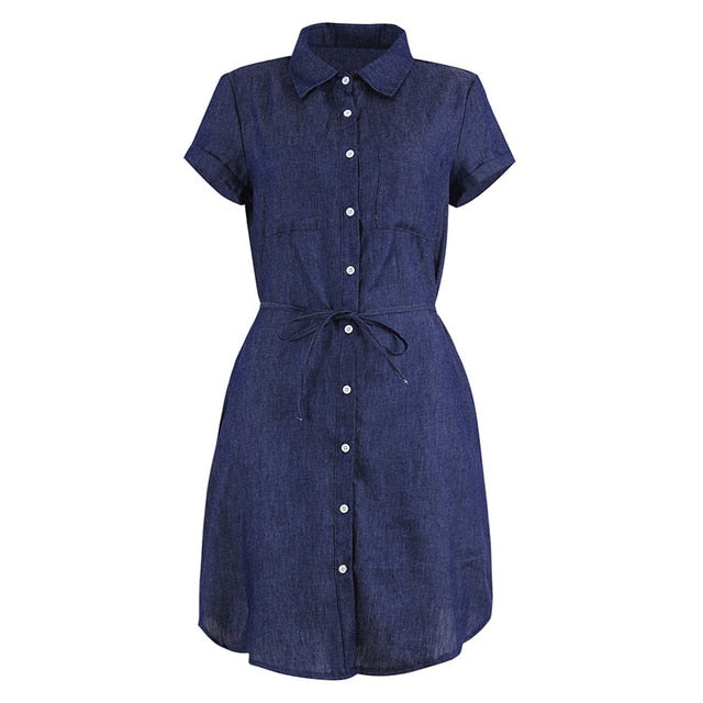 Women's V Neck Button Down Loose Short Sleeve Summer Dress