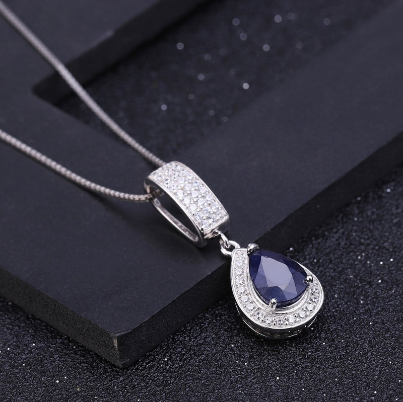 Natural Water Drop Blue Sapphire Elegant Pendant Necklace