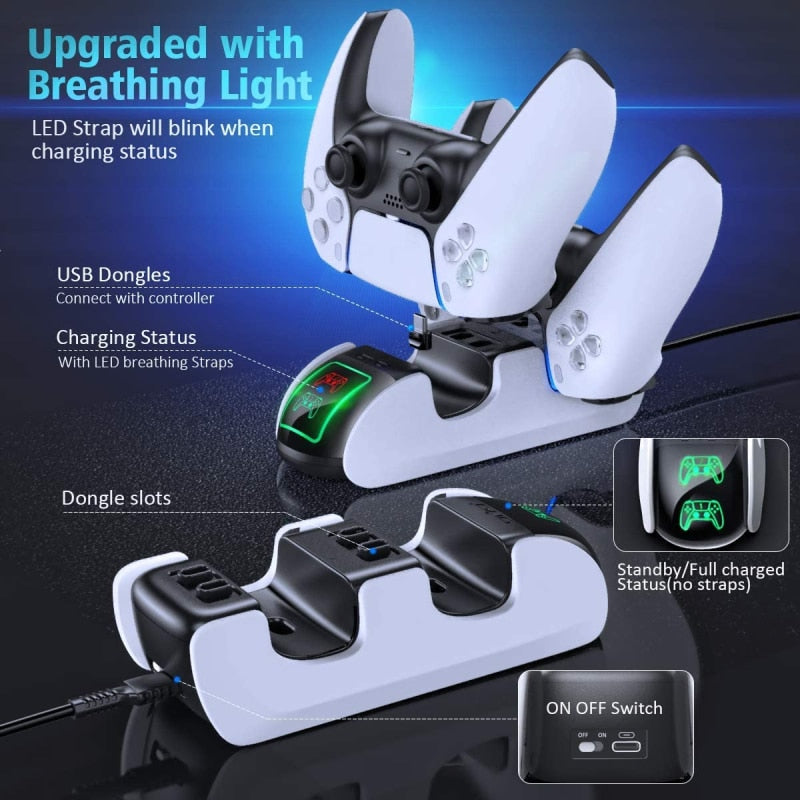 Dual Fast Charger For PS5 Joystick Wireless Docking Station Stand