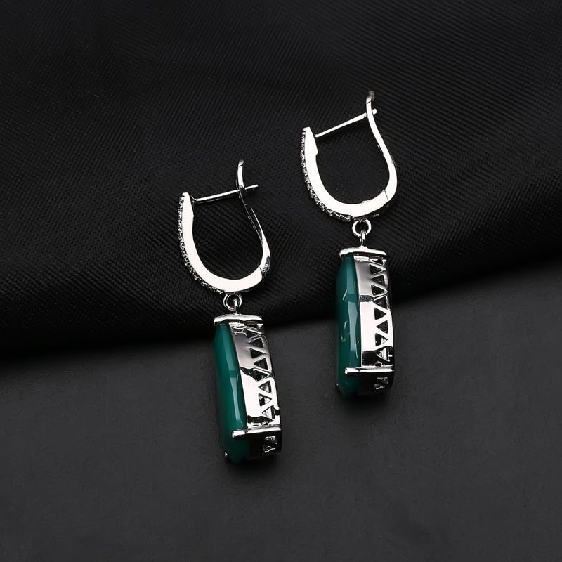 10.82ct 10x20mm 925 Sterling Silver Natural Green Agate Drop Earrings