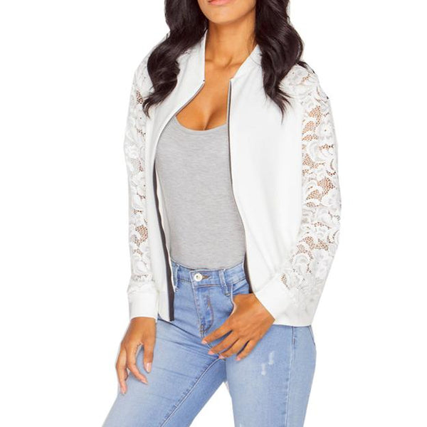 Women's Long Sleeve Lace Zipper Jacket