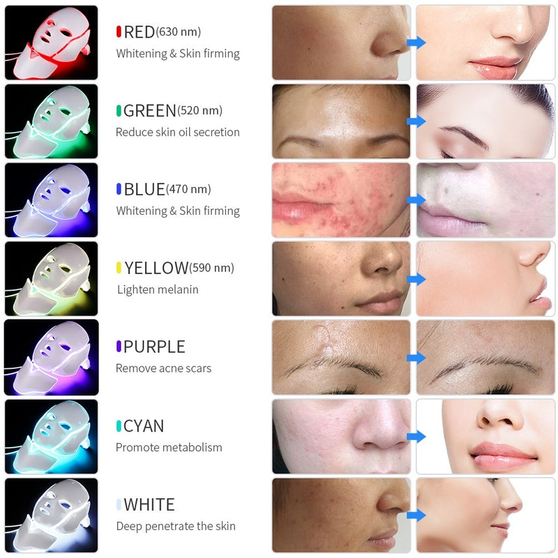 7 Color Led Light Therapy Acne Facial Mask
