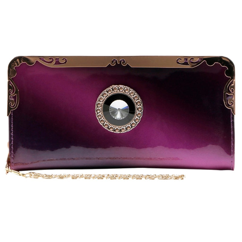 Women's Fashion Patent Leather Long Wallet