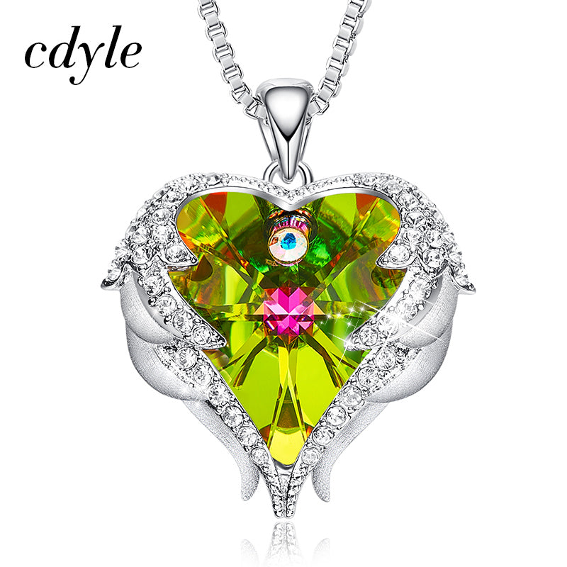 Women's Copper Material with Colorful Crystal Angel Wings Heart Pendant Necklace