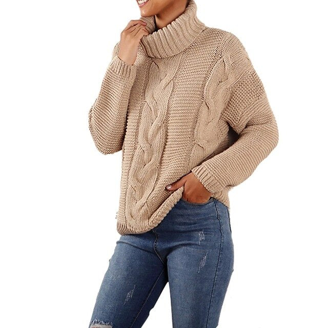 Women's Winter Long Sleeve Oversize Khaki Turtleneck Sweater