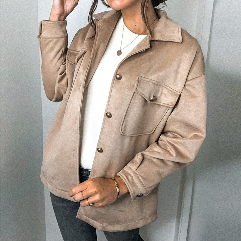 Women's Casual Long Sleeve Button-Down Suede Shirt Jacket