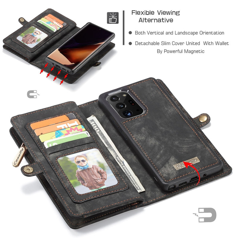 2 in 1 Detachable Genuine Leather Wallet Case for Samsung Note 20 / Ultra