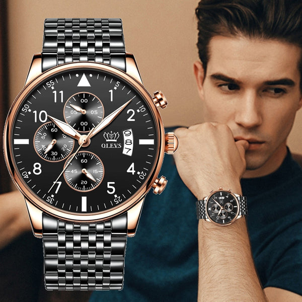 Men's Stainless Steel Luxury OLEVS Watch