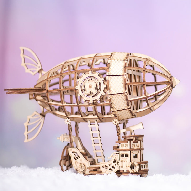 DIY 3D Wooden Airship Puzzle Game