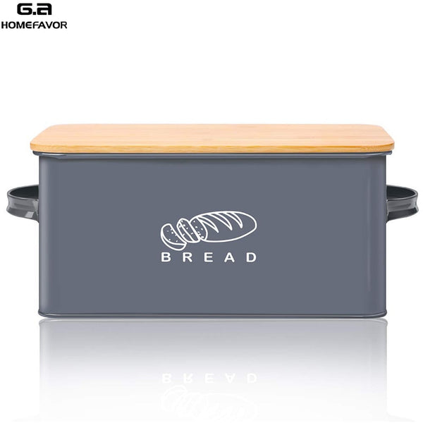 Bread Bin Storage Box With Bamboo Cutting Board