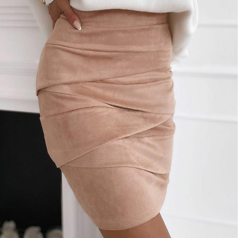 Suede Cross Ruched Skinny Women's Mini Skirt