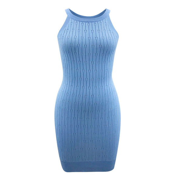 Women's Halter Strapless Solid Color Knitting Slim Sexy Mini Dress
