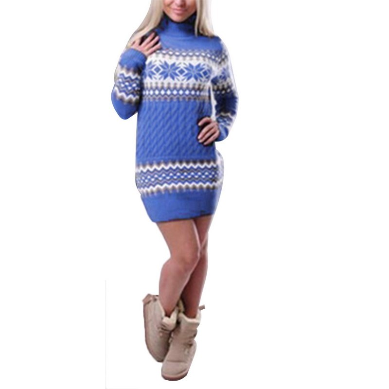 Women Turtleneck Long Sleeve Sweater Dress