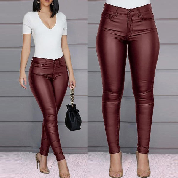 Women's High Waisted Buttoned PU Leather Pants