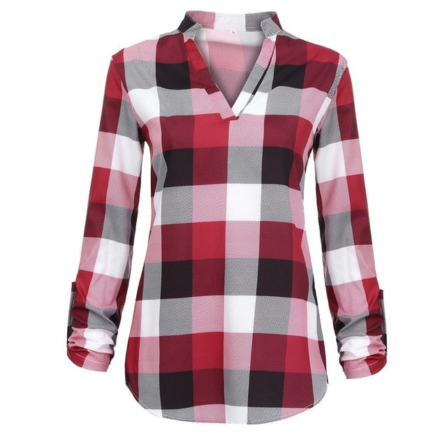 Women's Plaid Long Sleeve V Neck Shirt