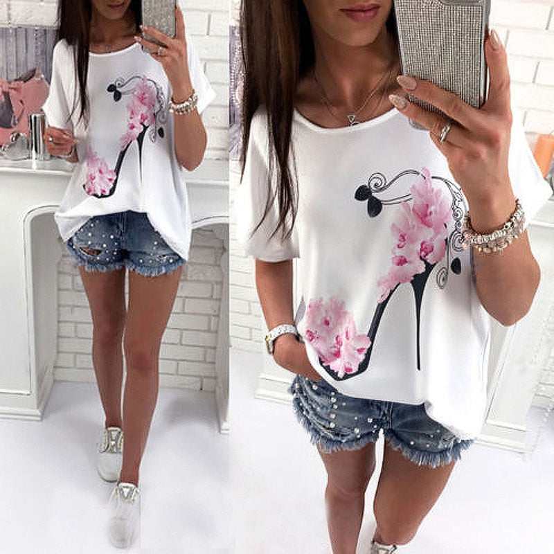 Women's Short Sleeve High Heels Printed Top