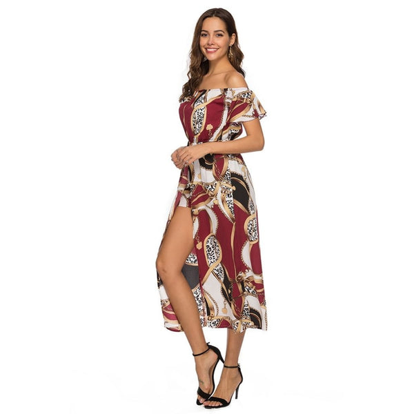 Sexy Bohemian Floral Trumpet Sleeve Retro Print Dress