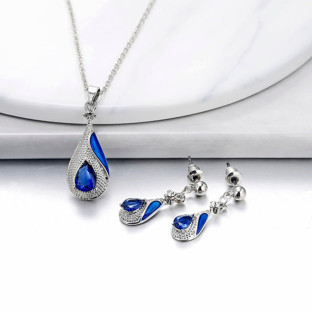 Women's Water Drop Pendant Earring Jewelry Set