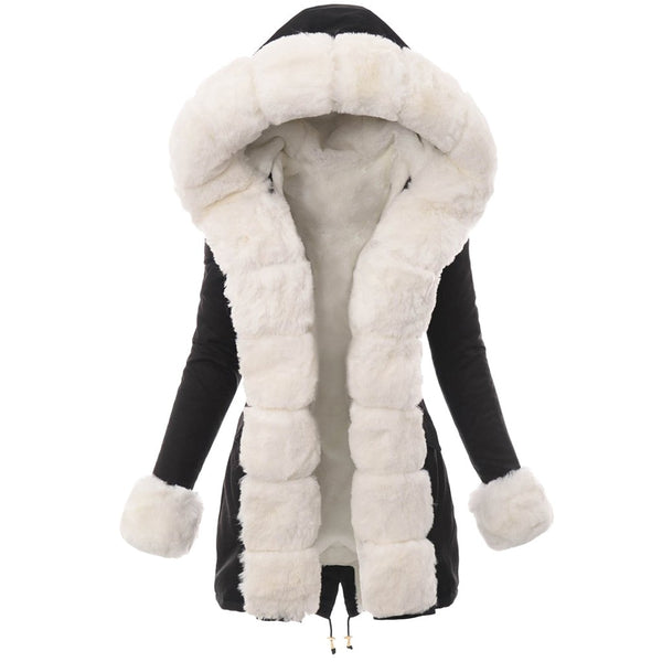 Women's Faux Leather Plush Hooded Winter Coat