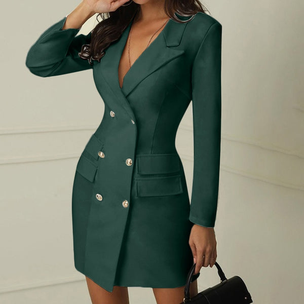 Women's Double Breasted Button Front Military Style Dress