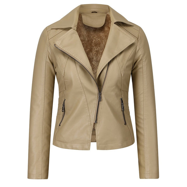 Women's Chic Fashion Faux Leather Jacket