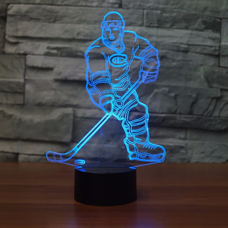 3D Ice Hockey Player Led Lamp
