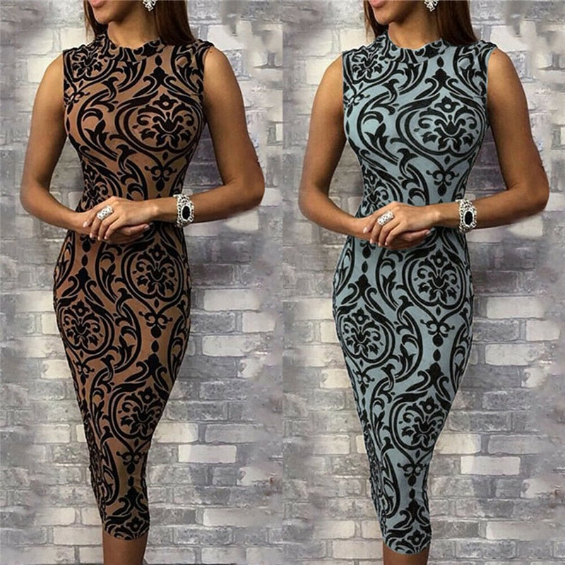 Women's Vintage Floral Print Pencil Dress