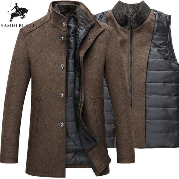 Men's Winter Warm Wool Thick Overcoat