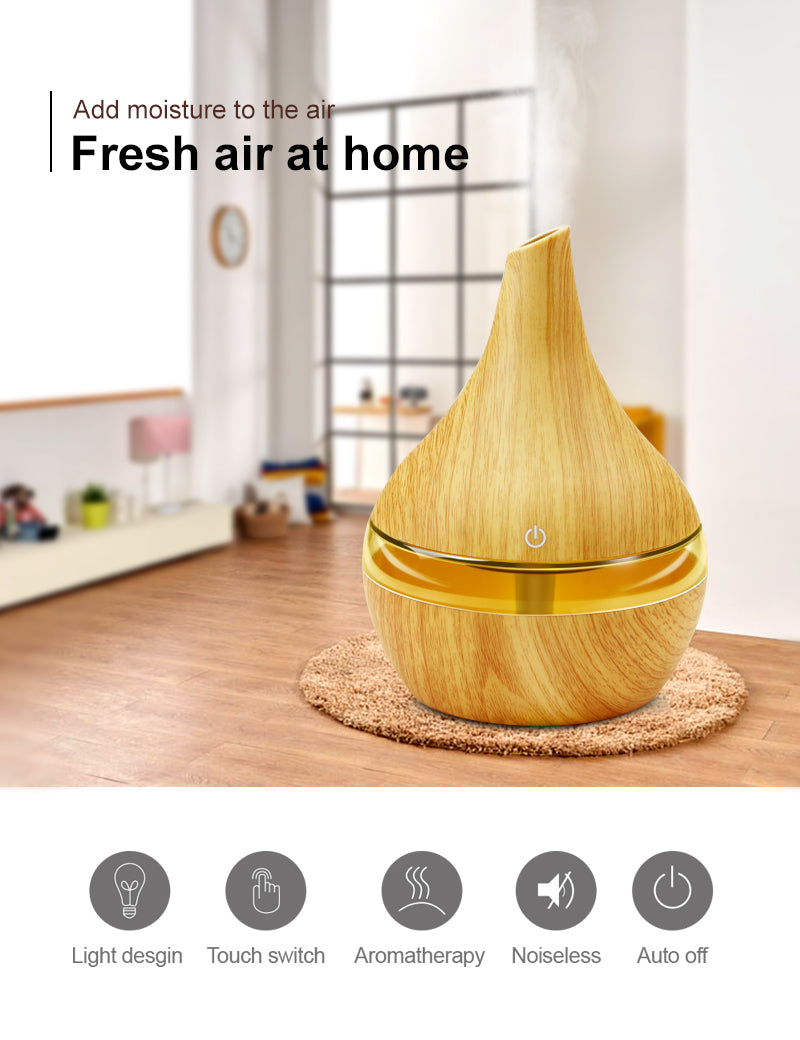 300ML USB Electric Aroma Air Wood Air Aromatherapy Diffuser