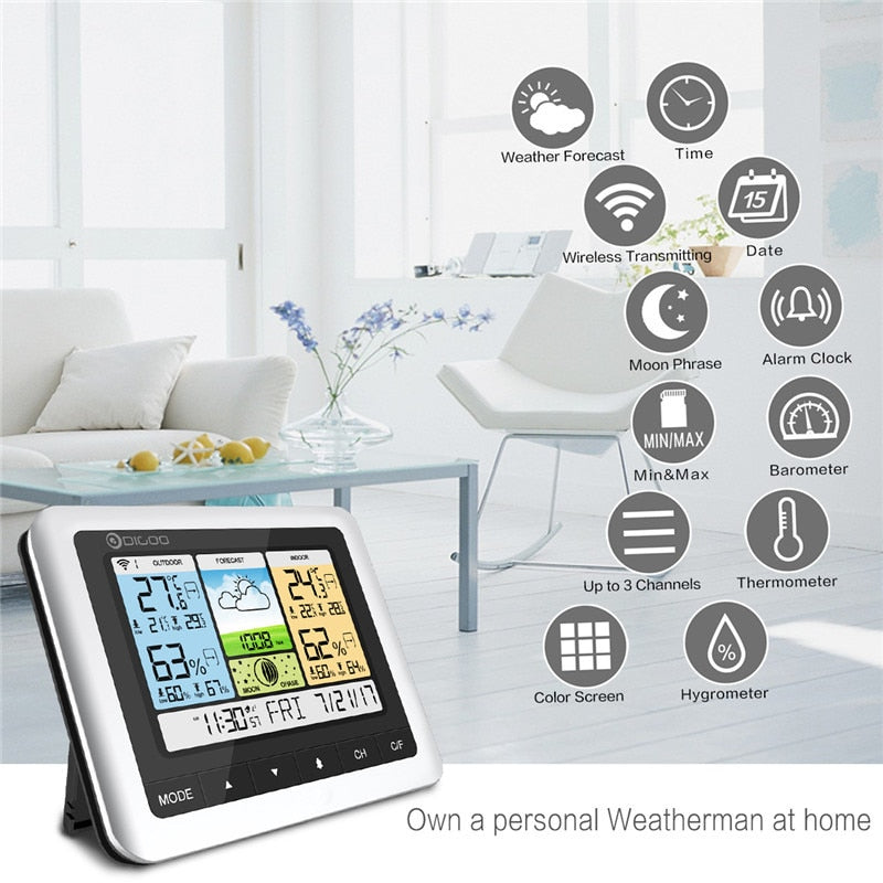 White Color Home Digital Wireless Weather Station