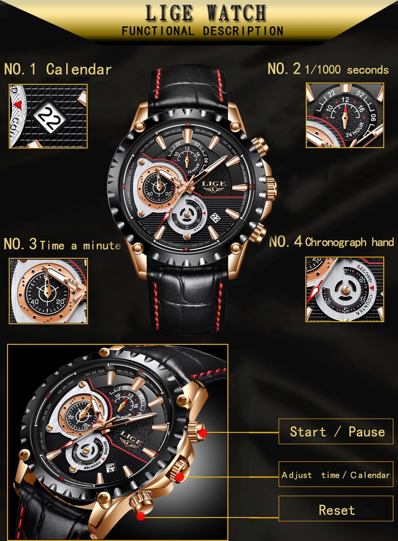LIGE Luxury Brand Men's Watch