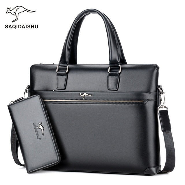 Men's Leather Business Briefcase Laptop Bag