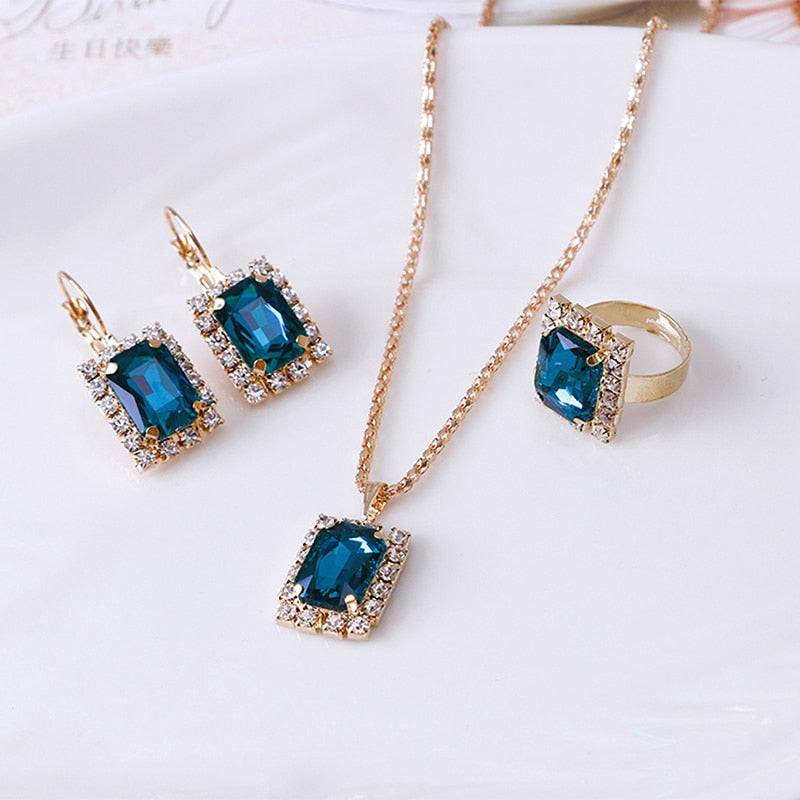 Crystal Necklace Earrings Ring Set