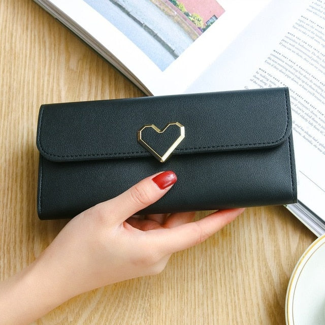 Heart-shaped Decoration Long Multi-card  Wallet