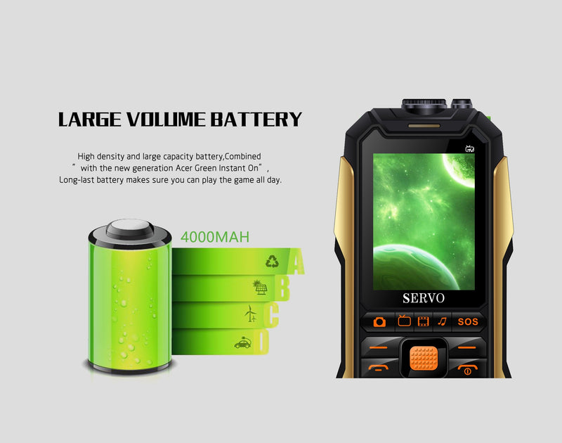 "SERVO X7 Mobile Phone 2.4"" Antenna Analog TV Voice Changing Laser Flashlight Power Bank Cell Phone"