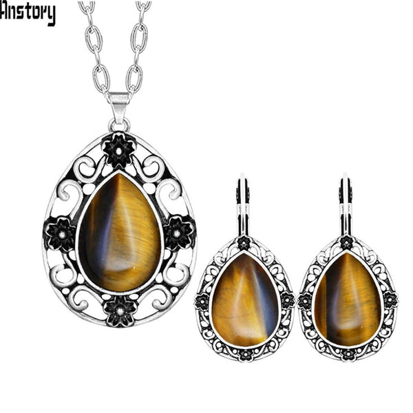 Water Drop Tiger Eye Jewelry Set