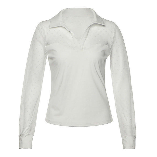 Women Sexy Mesh Patchwork Solid Casual See-through Long Sleeve Blouse
