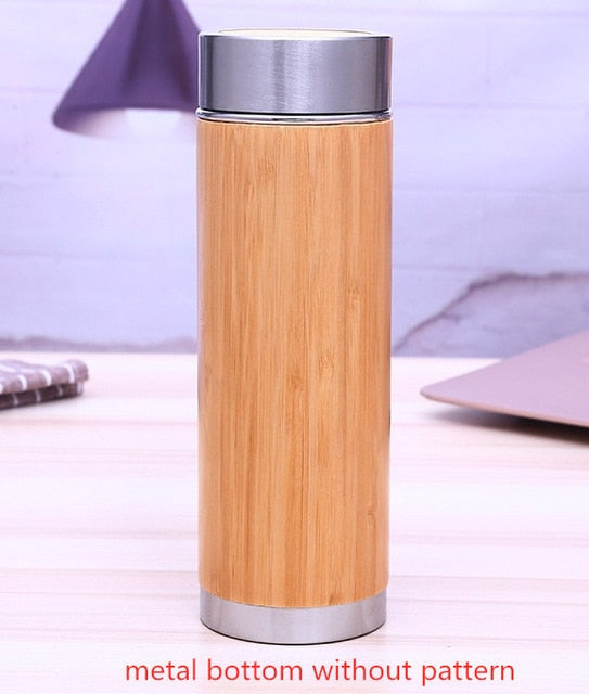 Natural Bamboo Stainless Steel Tumbler 350ml 450ml Thermos
