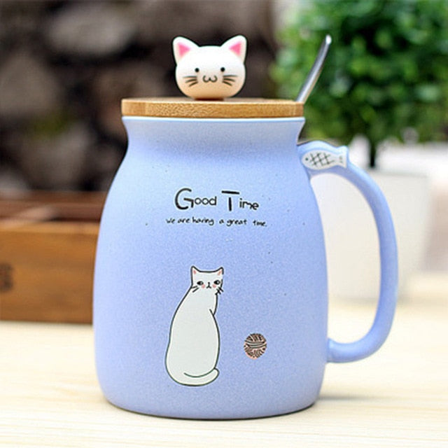Color Cartoon  Milk Coffee Ceramic Mug With Lid Spoon