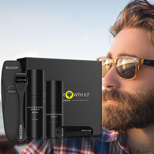 4 Pcs Beard Growth Care Kit with Comb ,Hair Growth Enhancer, Thicker Oil Nourishing, Essence Leave-in Conditioner