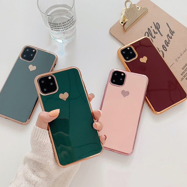 Electroplated Love Heart Phone Case For iPhone