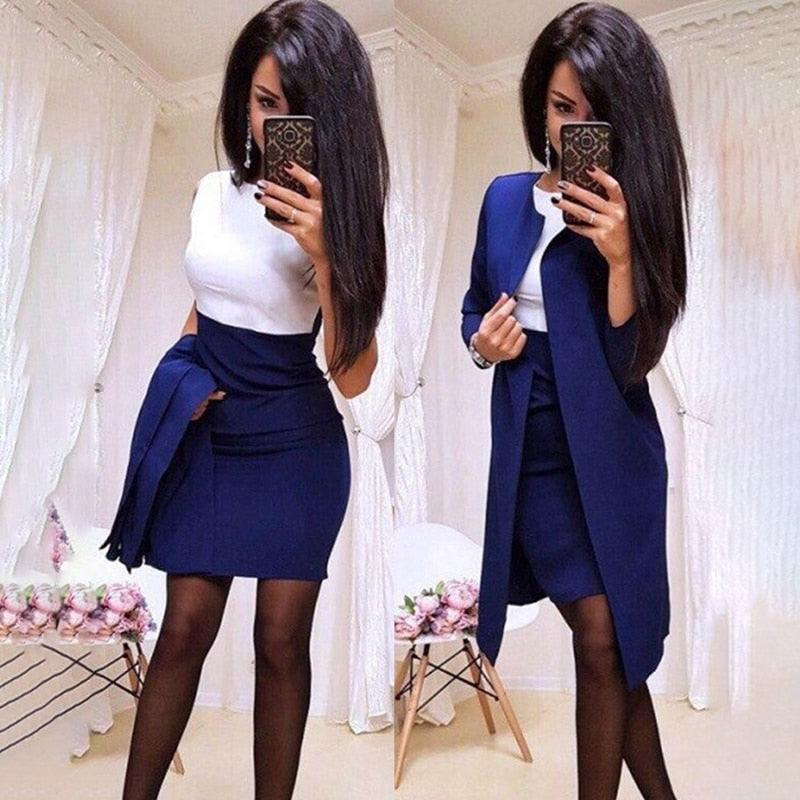 Long Blazer Jacket Sheath O-Neck Mini Dress Suit Set