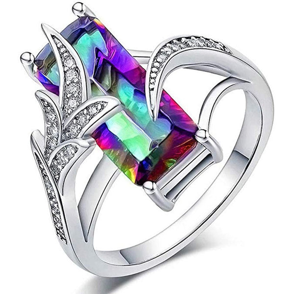 Women's Luxury Long Cubic Zircon Stone Prong Setting With Cirrus  Ring