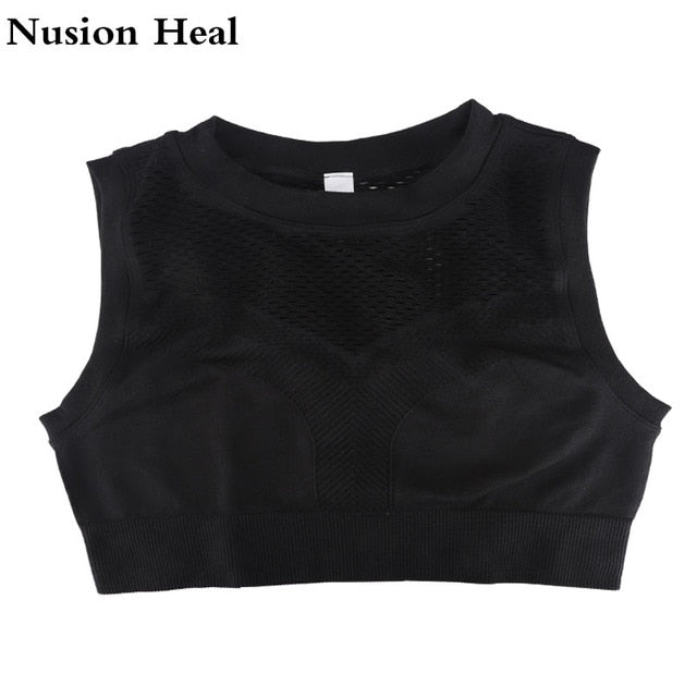 Women Vital Ombre Seamless Sleeveless Cropped Gym Crop Top