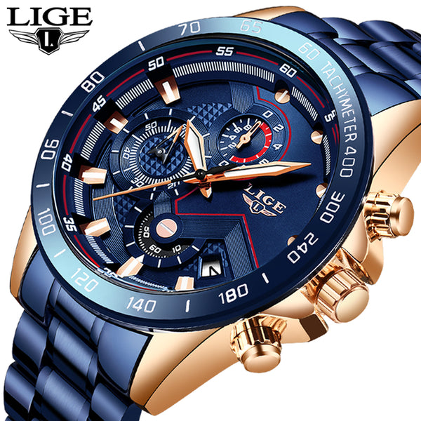 New Men's Waterproof Stainless Steel LIGE Watch