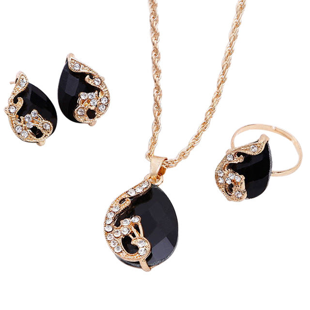 Shiny Water-Drop Shape Rhinestone Necklace Earrings Ring Set