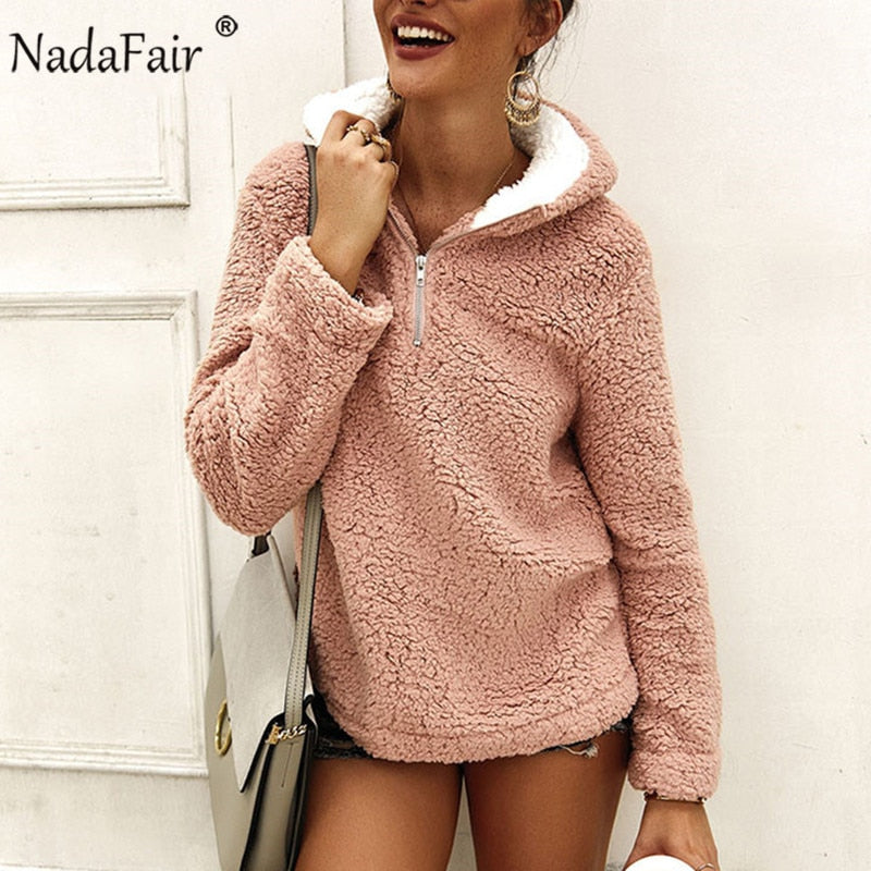 Nadafair Winter Warm Faux Fleece Casual Oversized Women's Hoodie
