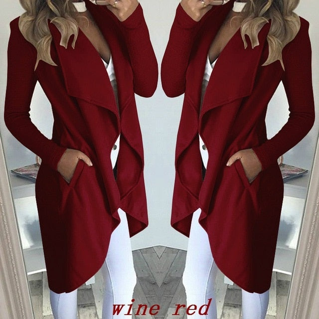Women's Long Sleeve Pocket Cardigan Overcoat