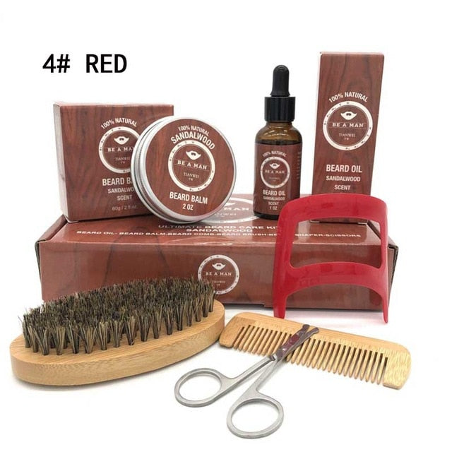 Men's Beard Wax/Oil/Comb/Brush/Scissor Care Styling Kit