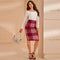 Women Elegant Plaid Print Pencil Skirt